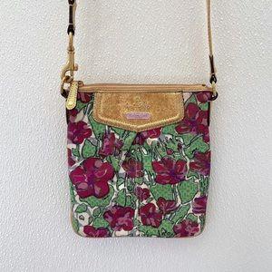 Coach Ashley floral crossbody gold purple bag